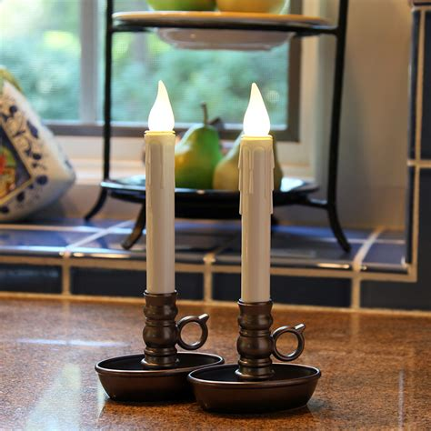 christmas window candles remote set of 2 flameless window candles warm white led bronze base timer