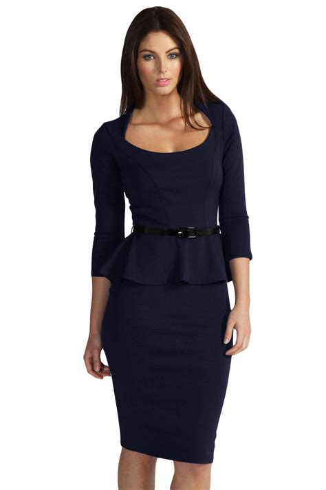 Blue Belted Dress Size M autumn winter slim office work clothes with sashes sleeves belted peplum midi dress 6163