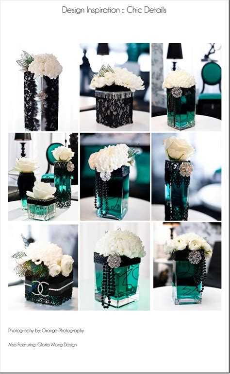 Black Teal Lace Pearls Centerpiece Wedding Black Vases For Wedding Centerpieces
