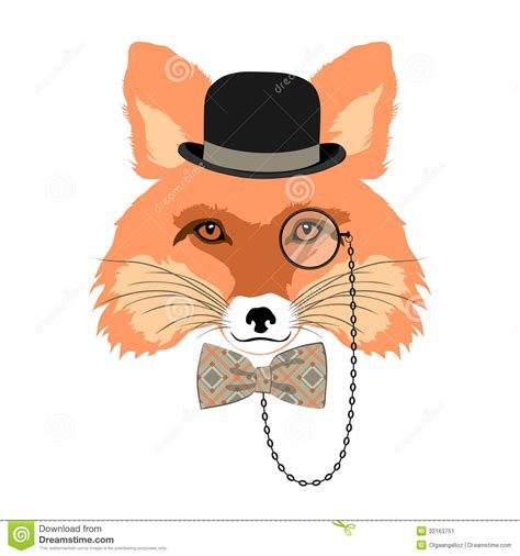 how to create a retro fox illustration in adobe illustrator portrait of fox in bowler hat stock image image 32163751