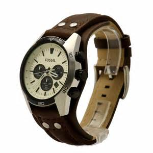 Fossil Ch 2890 Silver Brown fossil s coachman ch2890 brown leather cuff