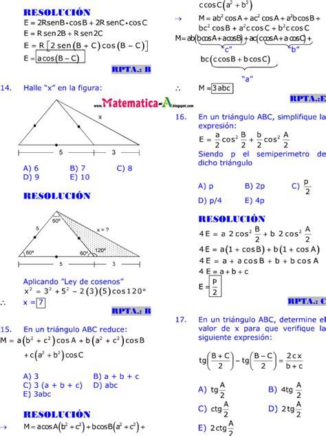 imagenes de matematicas resueltos resoluci 211 n de tri 193 ngulos oblicu 193 ngulos ejercicios