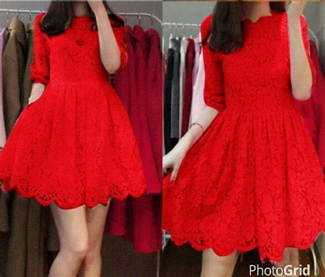 Dress Cantik Brukat baju mini dress pendek brukat merah cantik murah