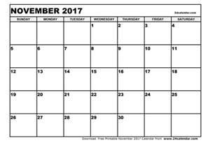 blank november 2017 calendar blank calendar printable