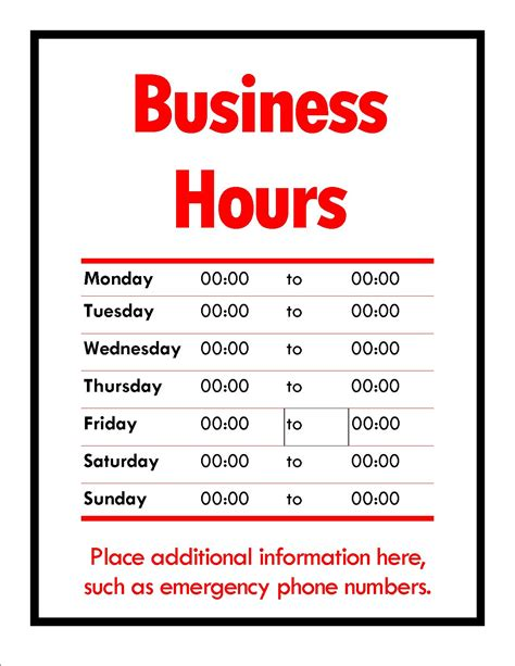 business hours template word specialty signs