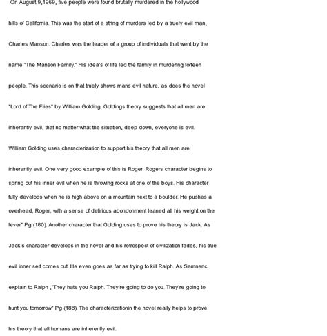 lord of the flies literary essay theme lord of the flies literary analys characterization at