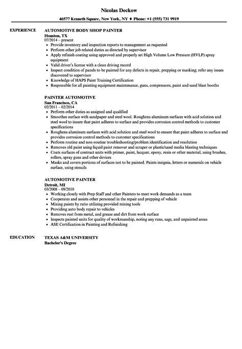 free resume sles for painters charming sle resume for auto painter images resume ideas namanasa