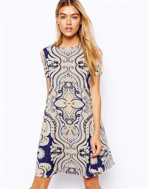 paisley swing dress lyst asos swing dress with short sleeves in paisley print