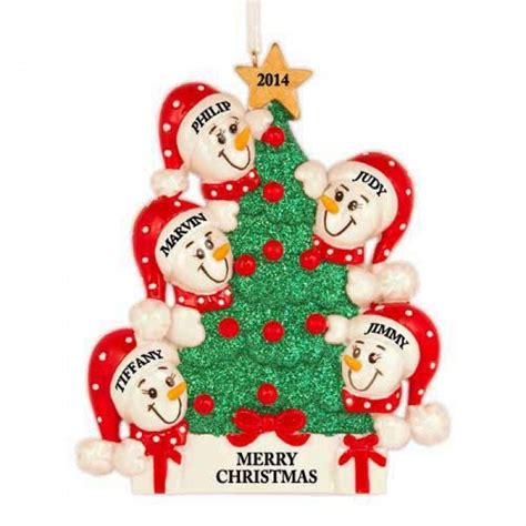 tree snowman family of 5 personalized christmas ornament
