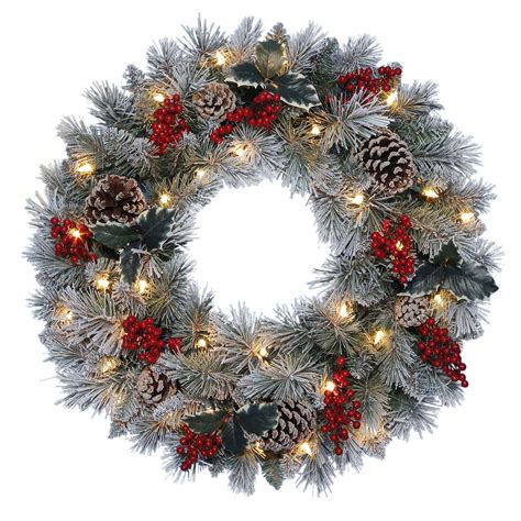 sears outdoor lighted christmas garland trim a home 174 22 quot decorative pre lit wreath with clear lights seasonal wreaths
