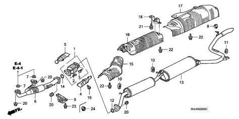 honda odyssey exhaust system diagram 18210 shj a01 genuine honda pipe a ex