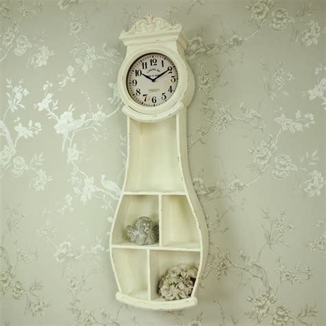wall mounted grandfather clock antique white wall mounted grandfather clock shelving shabby vintage chic home ebay