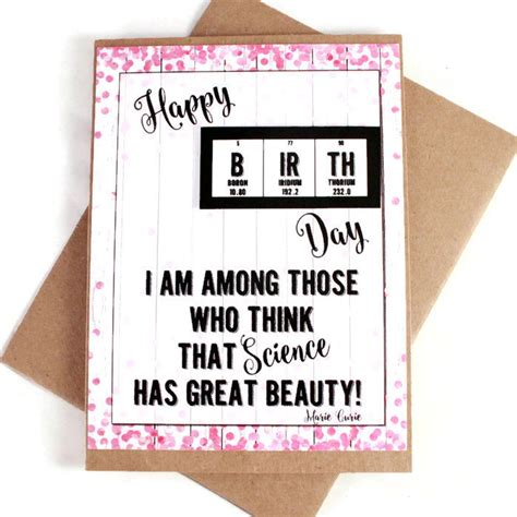 Scientific Happy Birthday Wishes Science Girl Birthday Card Chemistry Periodic Table Of