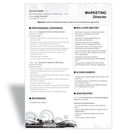 marketing resume templates word word cover letter template director marketing