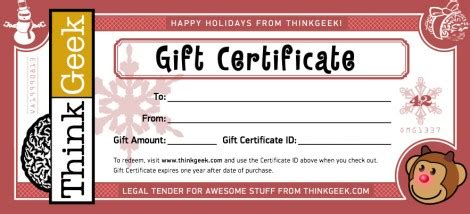 Thinkgeek Gift Card - the 12 gift cards of christmas forevergeek