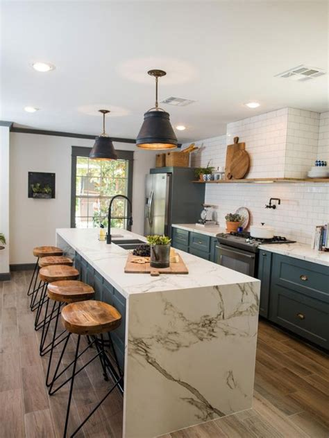 a chic 21st century modern kitchen by the inman company 32 trendy and chic waterfall countertop ideas digsdigs