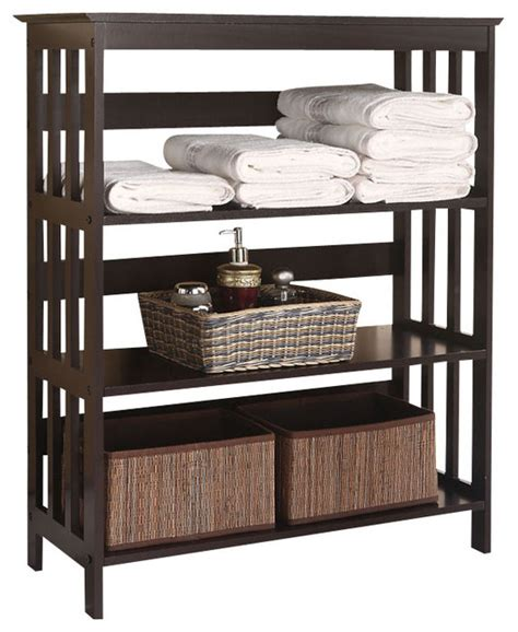 Free Standing Espresso Wooden 3 Tier Storage Bathroom Free Standing Shelves For Bathroom