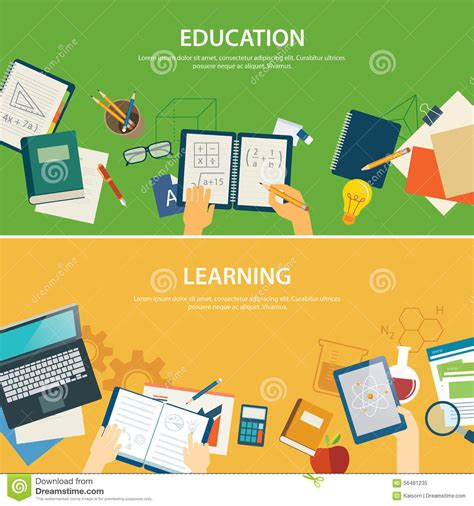 banner design education education and learning banner flat design template stock