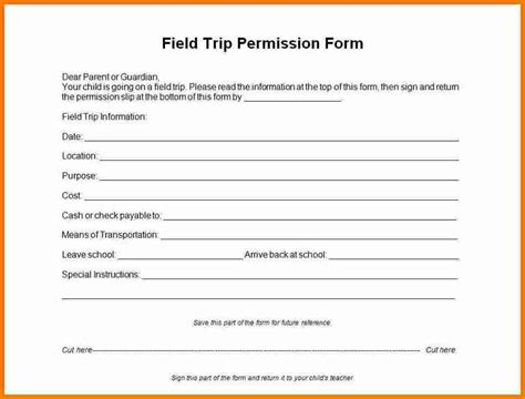 8 Permission Slips For Field Trip Simple Salary Slip Tutoring Slip Template