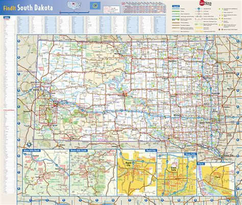 dakota road map with cities south dakota state wall map by globe turner