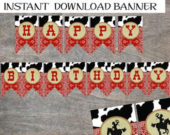 western happy birthday banner printable cow print banner etsy