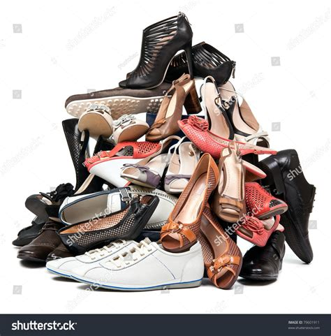 lade a pile pile various shoes stock photo 79601911