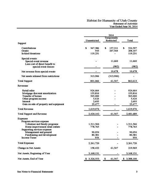 nonprofit financial statement template