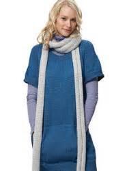 bernat dress with kangaroo pockets and scarf knit pattern knit dress with kangaroo pockets favecrafts com