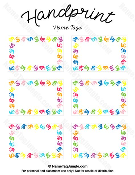preschool name tag templates free printable handprint name tags the template can also