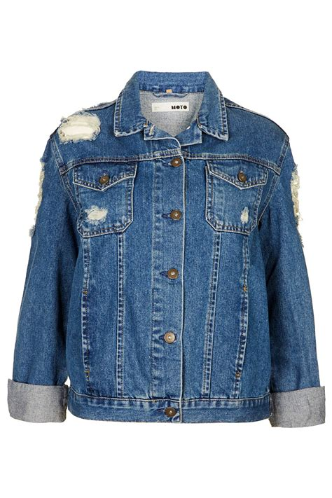 Ripped Jacket lyst topshop moto ripped denim jacket in blue