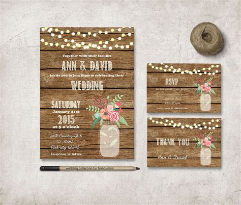 rustic wedding invitation printable wedding invitation set