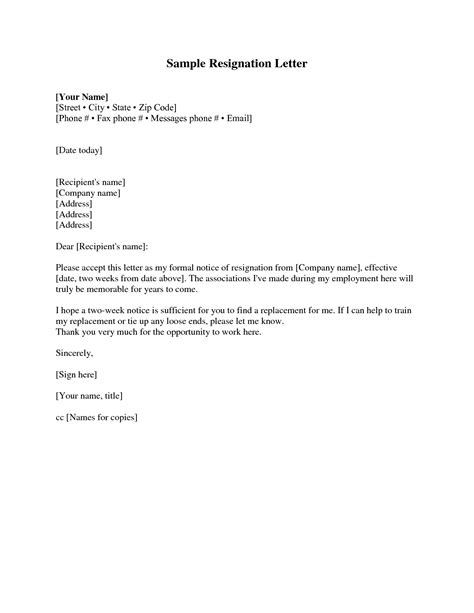 resignation letter 2 weeks notice template cover letter
