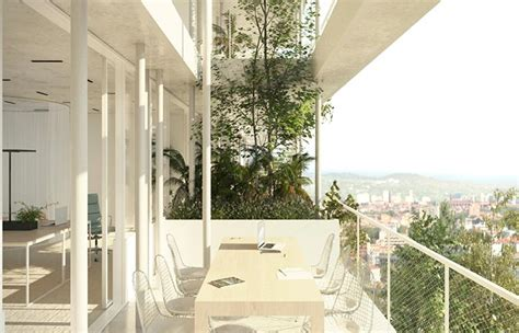 open concept green office building  france  nla