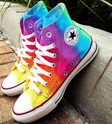 items similar to tie dye converse rainbow custom tie dye hi top converse on etsy