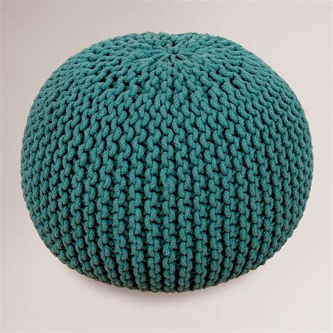 pouf ottoman world market mallard green knitted pouf world market