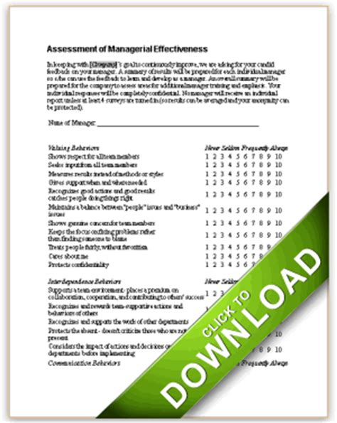 Assessment Of Managerial Effectiveness 360 Employee Review Template