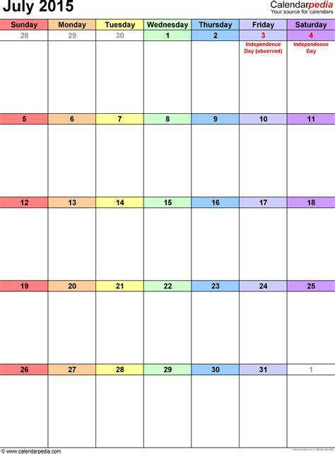 Printable Calendar Template July 2015 July 2015 Calendars For Word Excel Pdf