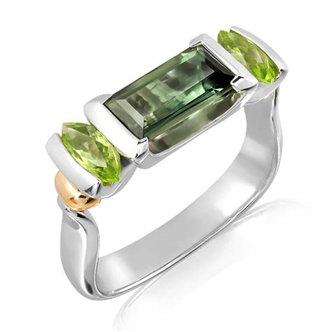 Handmade Rings Melbourne - green tourmaline and peridots white gold ring