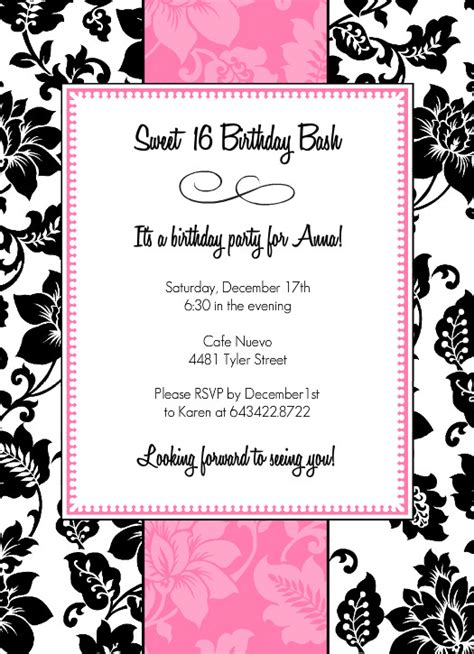 8 best images of 16th birthday invitations free printable