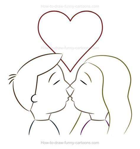 how to draw a kiss cartoon image