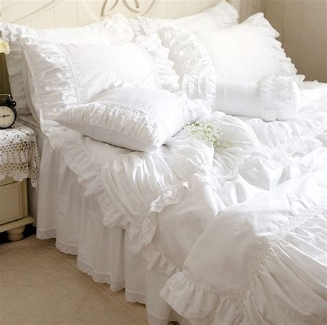 luxury white lace ruffle bedding settwin full queen king