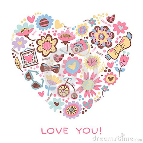 love heart made of flowers love heart made of flowers and fashionable things vector