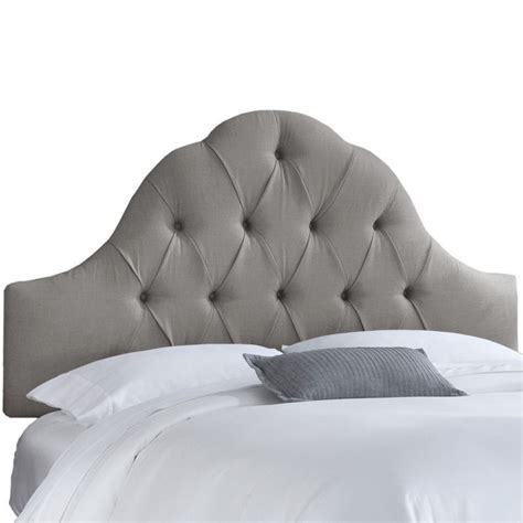 grey tufted headboard queen skyline upholstered arch tufted queen headboard in gray