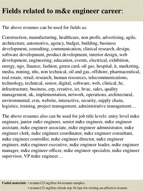 top 8 m e engineer resume sles