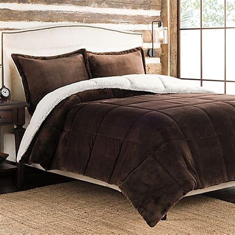 velvet comforter ultra velvet to sherpa reversible comforter set in