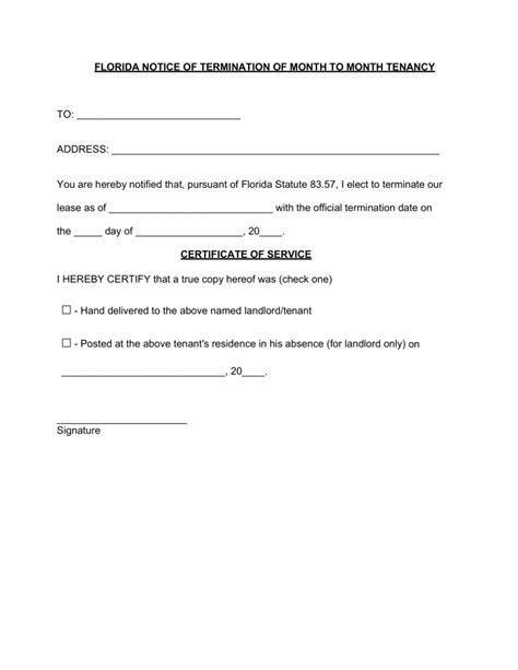 Rental Letter Of Standing Free Florida Lease Termination Letter 15 Day Notice Pdf Word Eforms Free Fillable Forms