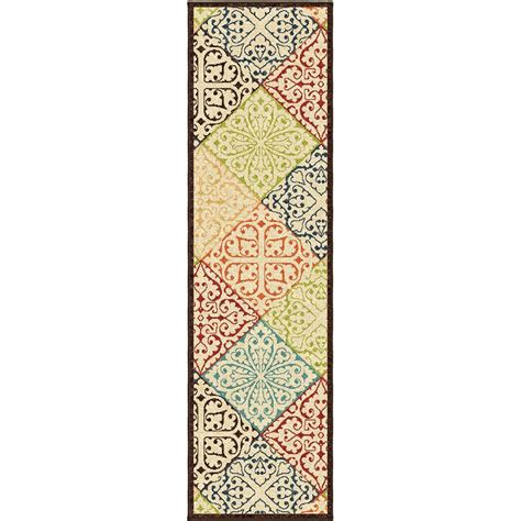 Indoor Outdoor Runner Rug Walker Multi 2 Ft 3 In X 8 Ft Indoor Outdoor Runner 302677 The Home Depot