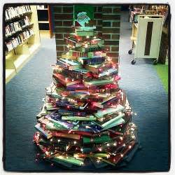 library book christmas tree made completely from donated