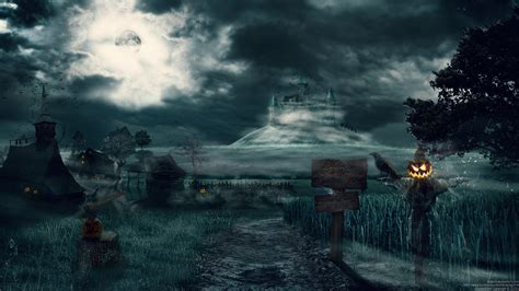 dark village wallpaper castles trees dark halloween moon hills scarecrow