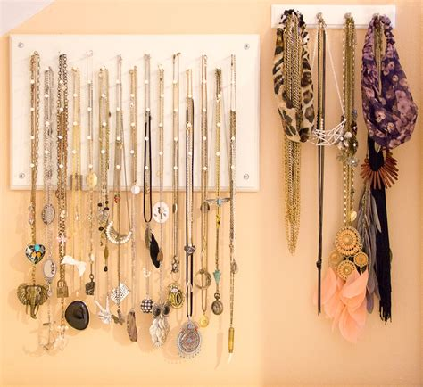 wonderful diy necklace hanger with purple necklace side